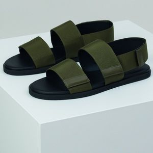 COS NWOB Military Green Velcro Sandals